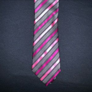 GEOFFREY BEENE EXTRA LONG NECKTIE GRAY AND PINK